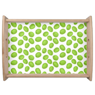 Pattern with  green olives serving tray