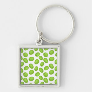 Pattern with  green olives Silver-Colored square keychain