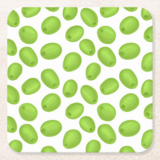 Pattern with  green olives square paper coaster