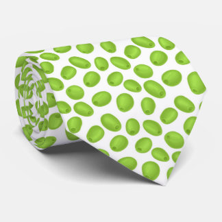 Pattern with  green olives tie