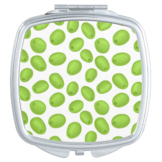 Pattern with  green olives travel mirrors
