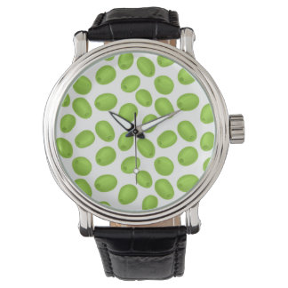 Pattern with  green olives watch