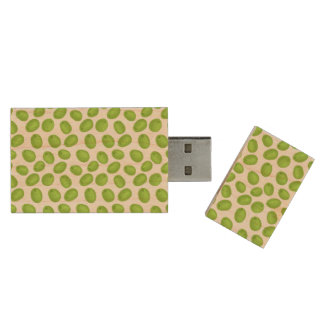 Pattern with  green olives wood USB flash drive