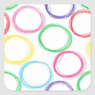 Pattern with hand drawn colored pencil circles square sticker