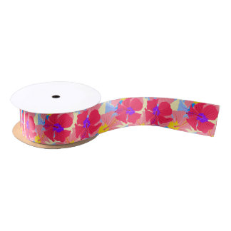 pattern with hibiscus satin ribbon