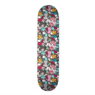 Pattern with kawaii doodle custom skateboard