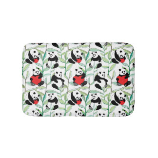 pattern with lovely pandas with hearts bathroom mat