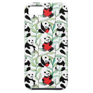 pattern with lovely pandas with hearts iPhone 5 cover