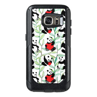 pattern with lovely pandas with hearts OtterBox samsung galaxy s7 case