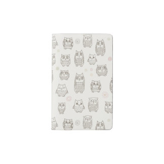 Pattern with owls pocket moleskine notebook