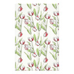 Pattern with red white tulips stationery paper