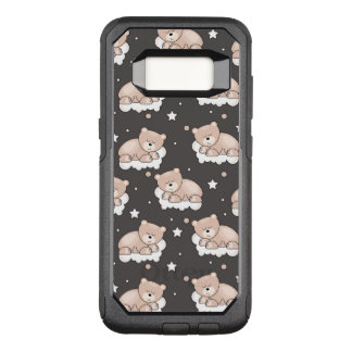 pattern with small bear sleeping OtterBox commuter samsung galaxy s8 case