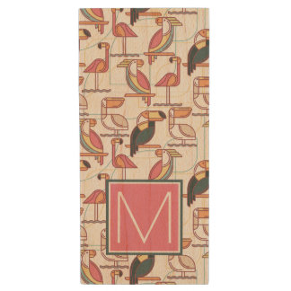 Pattern With Tropical Birds | Add Your Initial Wood USB 2.0 Flash Drive