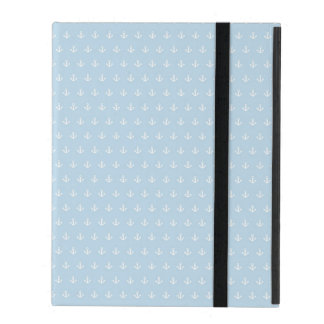 Pattern with white anchors on blue iPad case