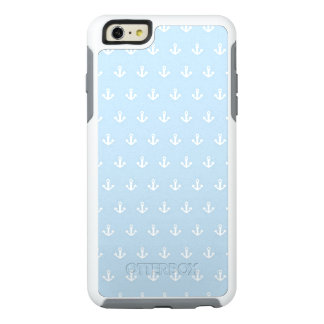 Pattern with white anchors on blue OtterBox iPhone 6/6s plus case
