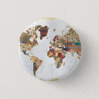 Pattern World Map 1 Inch Round Button
