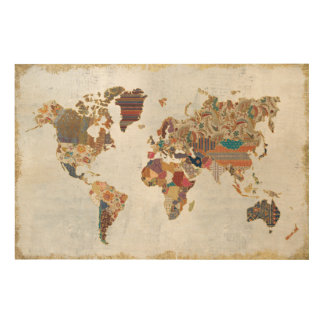 Pattern World Map Wood Canvases