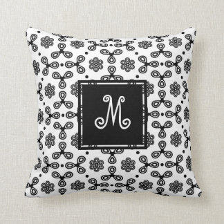 Patterned Black and White with Custom Monogram Throw Pillow