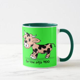 Patterned Cartoon Cow on Green with Moo Mug