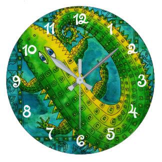 Patterned Crocodile Large Clock