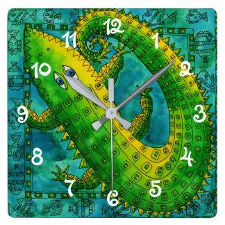 Patterned Crocodile Square Wall Clock