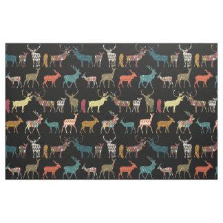 patterned deer black fabric