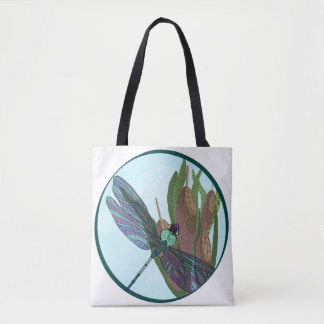 Patterned Dragonfly with cattails tote bag