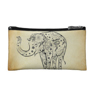 Patterned Elephant Cosmetic Bag