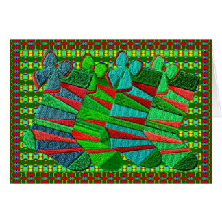 Patterned embroidered Christmas stockings Card