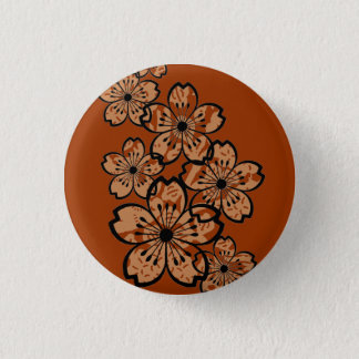 Patterned Flowers 1 Inch Round Button