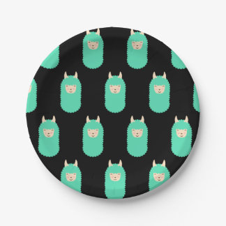 Patterned Happy Llama Emoj Paper Plate
