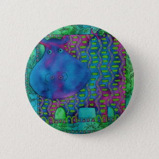 Patterned Hippo 2 Inch Round Button