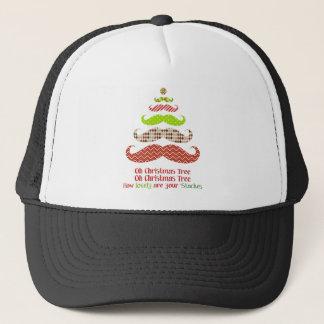Patterned Mustache Christmas Tree Apparel Trucker Hat