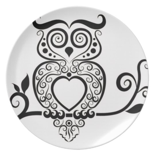 Patterned Owl Plate