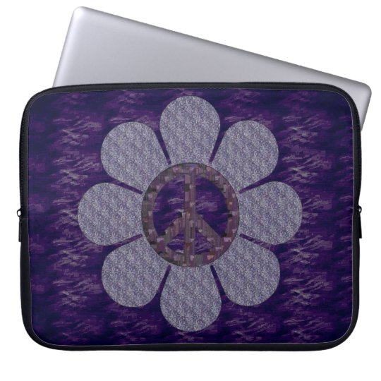Patterned Peace Flower Laptop Sleeve