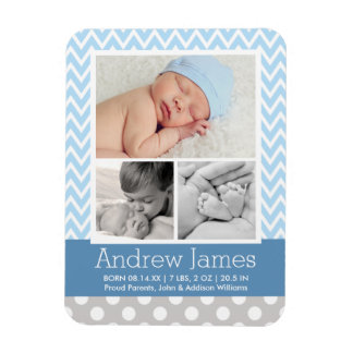 Patterned Photo Birth Announcement | Baby Boy Rectangular Photo Magnet