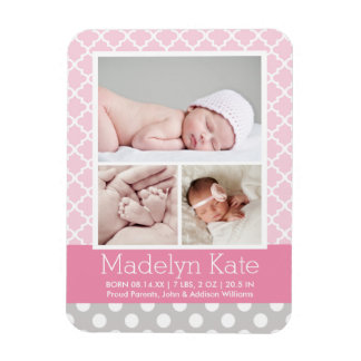 Patterned Photo Birth Announcement | Baby Girl Magnet