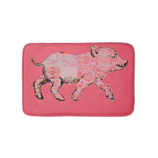Patterned Piggy Bathroom Mat