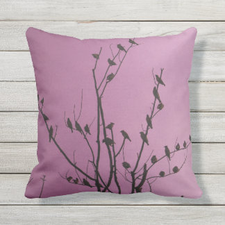 patterned purple throw pillow bird silhouette