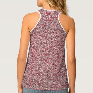 Patterned, red, black, designer activewear tank top