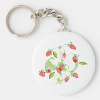 Patterned Strawberries Keychain