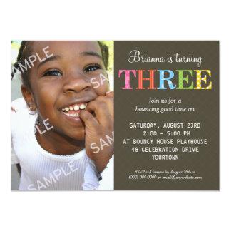 "Patterned Three Birthday Party 4.5"" X 6.25"" Invitation Card"