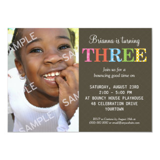 "Patterned Three Birthday Party 4.5"" X 6.25"" Invitation Card"