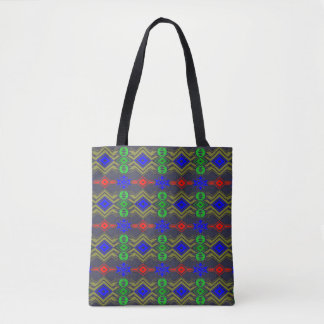 Patterned tote bag.