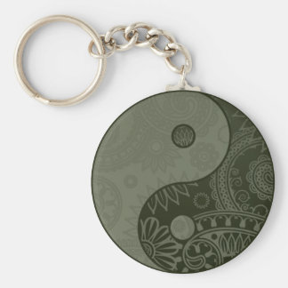 Patterned Yin Yang Sage Green Basic Round Button Keychain