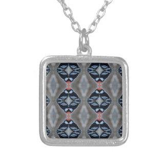 Patternized Male Downy Woodpecker Silver Plated Necklace