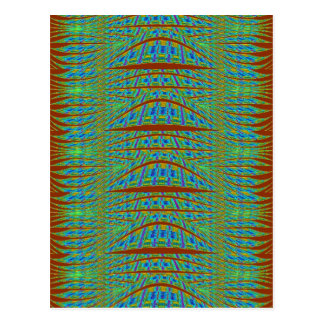 Patterns brown and blue abstract postcard