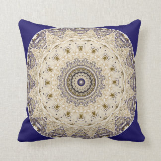Patterns in Blue and Gold Mandala Pillow