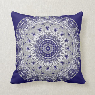 Patterns in Blue and Silver Mandala Pillow