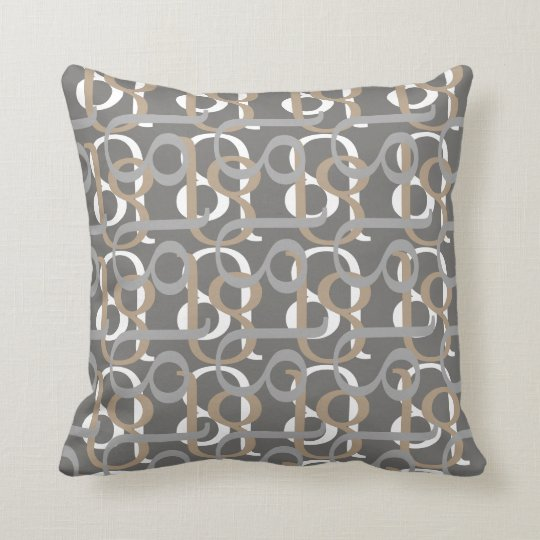 Patterns in Earthy Tones of Beige and Grey Throw Pillow